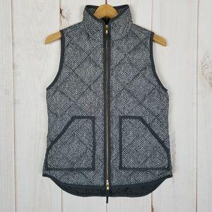 J. Crew | Gray Chevron Print Puffer Vest - XS